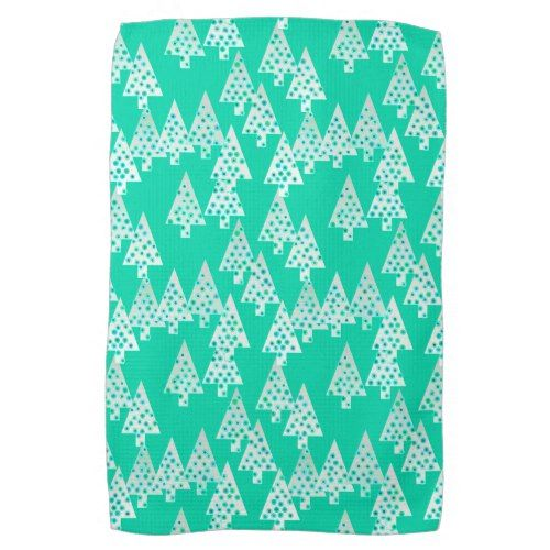 Modern Flower Christmas Trees Seafoam Green Kitchen Towel