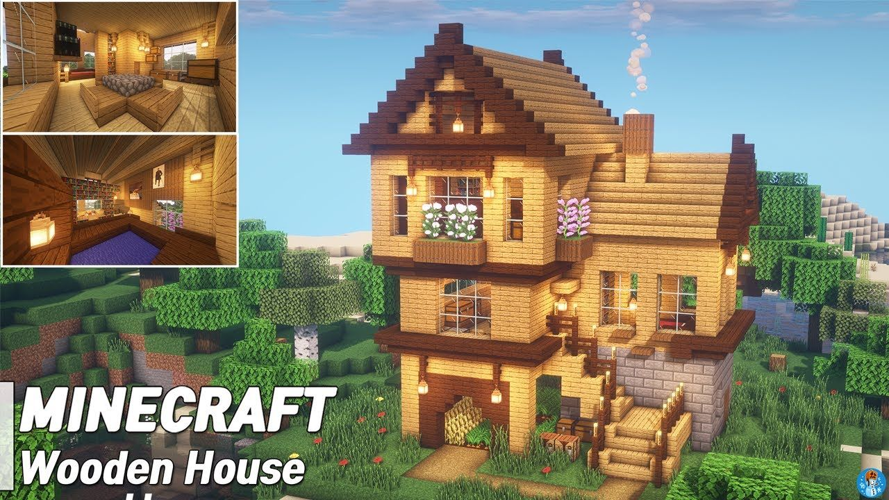 Minecraft Wooden House Tutorial L How To Build 34 Minecraft Designs Minecraft Blueprints Minecraft Projects