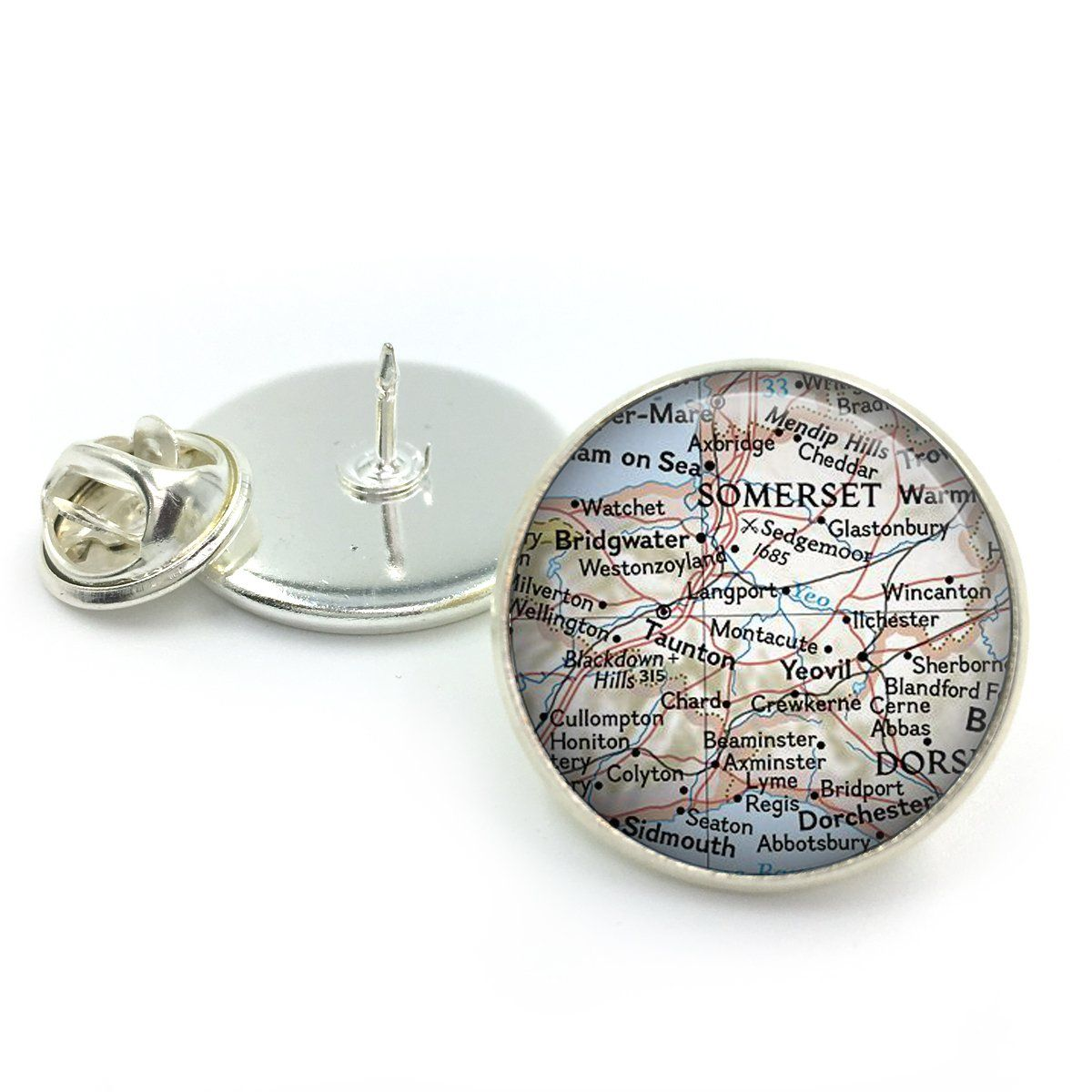 Custom Personalised Map Glass Dome Round Cabochon Lapel Pin