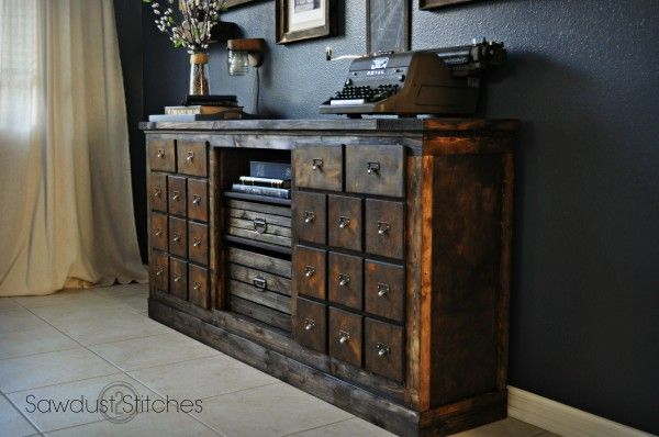 Sawdust2stitches garage sale flip / I love the idea of covering the original doors with little panels to look like drawers. <3