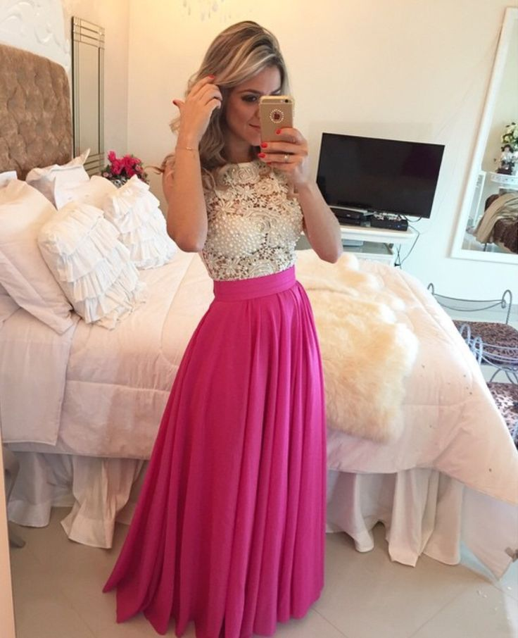 Ivory Lace Hot Pink Skirt Prom Dres | Hot pink skirt, Long prom ...