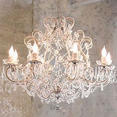 Amazing French Provincial Glass Crystal Chandelier Large 8 Light