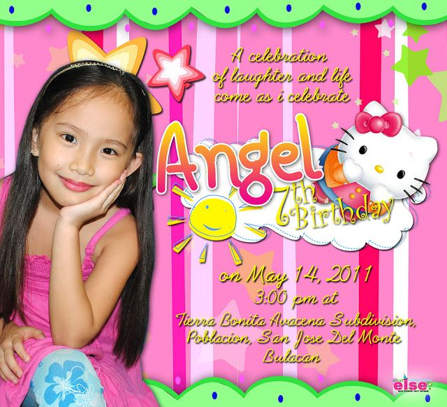 Hello Kitty Sample Invitation Design For Seventh Birthday
