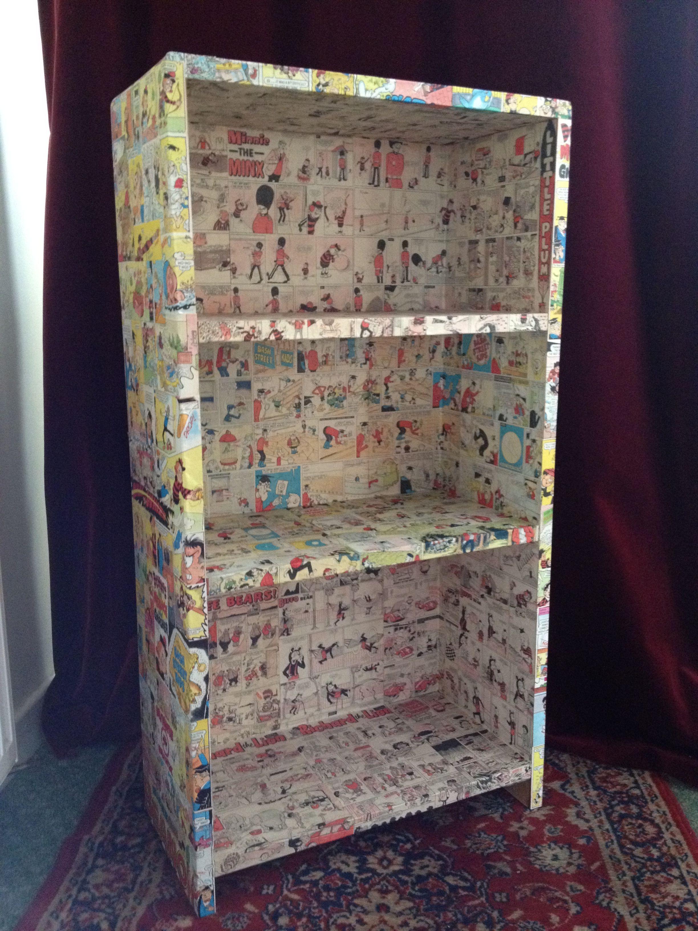 Decoupage comic bookcase