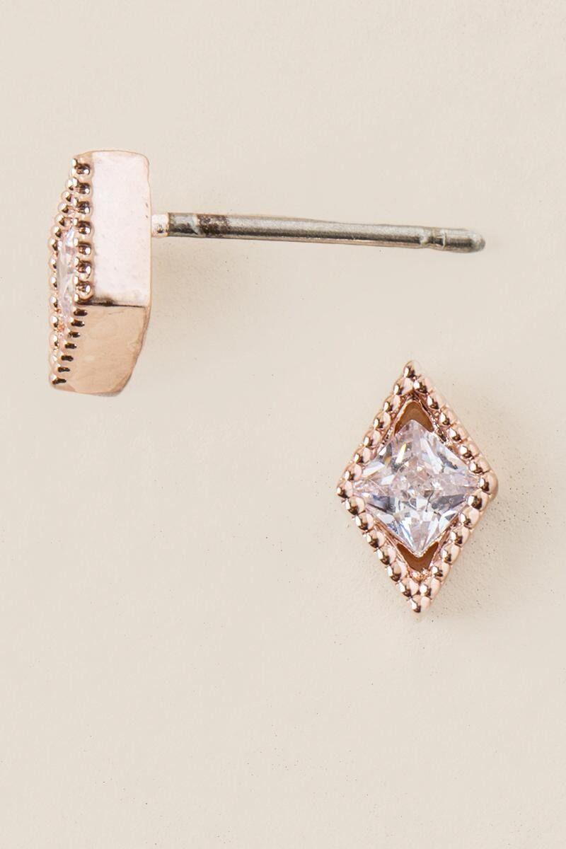 Hannah Cubic Zirconia Stud Earring In Rose Gold