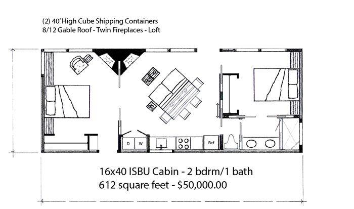 16x40 2 bdrm cabin web house plans pinterest cabin for 16x40 cabin plans