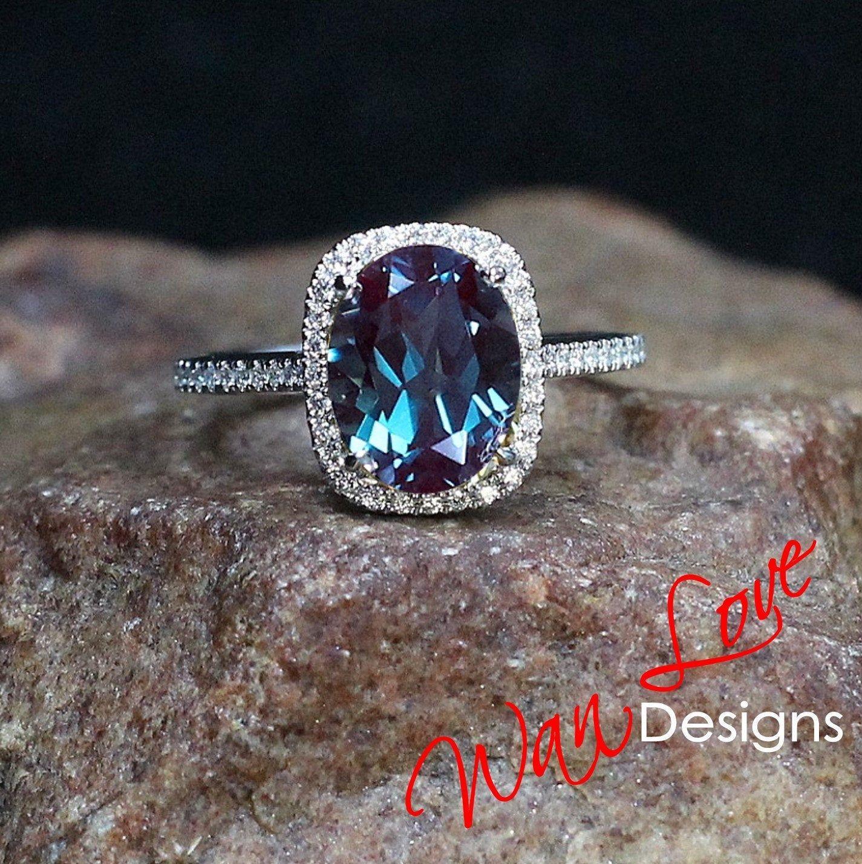 Alexandrite diamond cushion halo engagement ring