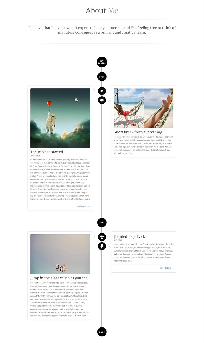 Pin By Delaney Maher On Dot Com Pinterest Personal Portfolio - Timeline website template