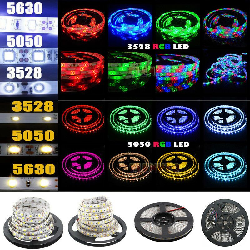 5M//Roll 3528//5050 SMD 300 LED RGB 12V Strip Light Flexible Waterproof /& Remote