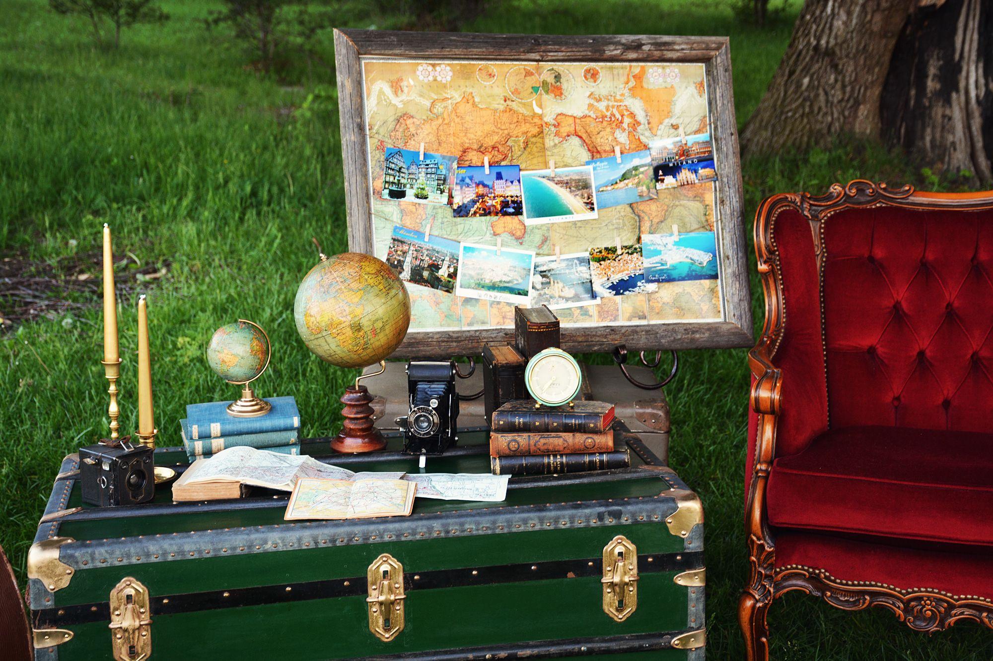 travel theme setup for wedding