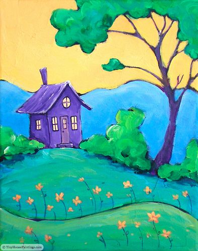House Paintings tiny purple retreat - original art painting | purple, originals