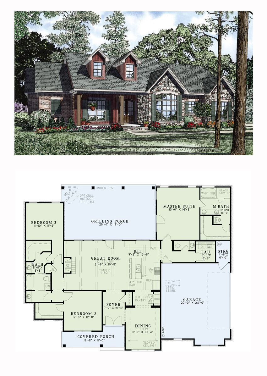 Ranch house plan 61297 total living area 1960 sq ft for 1960 ranch style home plans