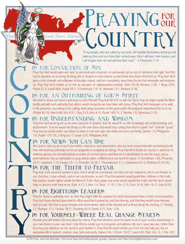 Praying for our Country (Free Printable)