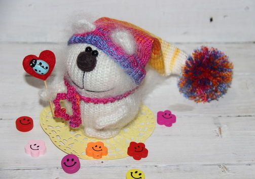 Amigurumi Cat Doll : White knitted cat plush toy cat with safety eyes cat doll