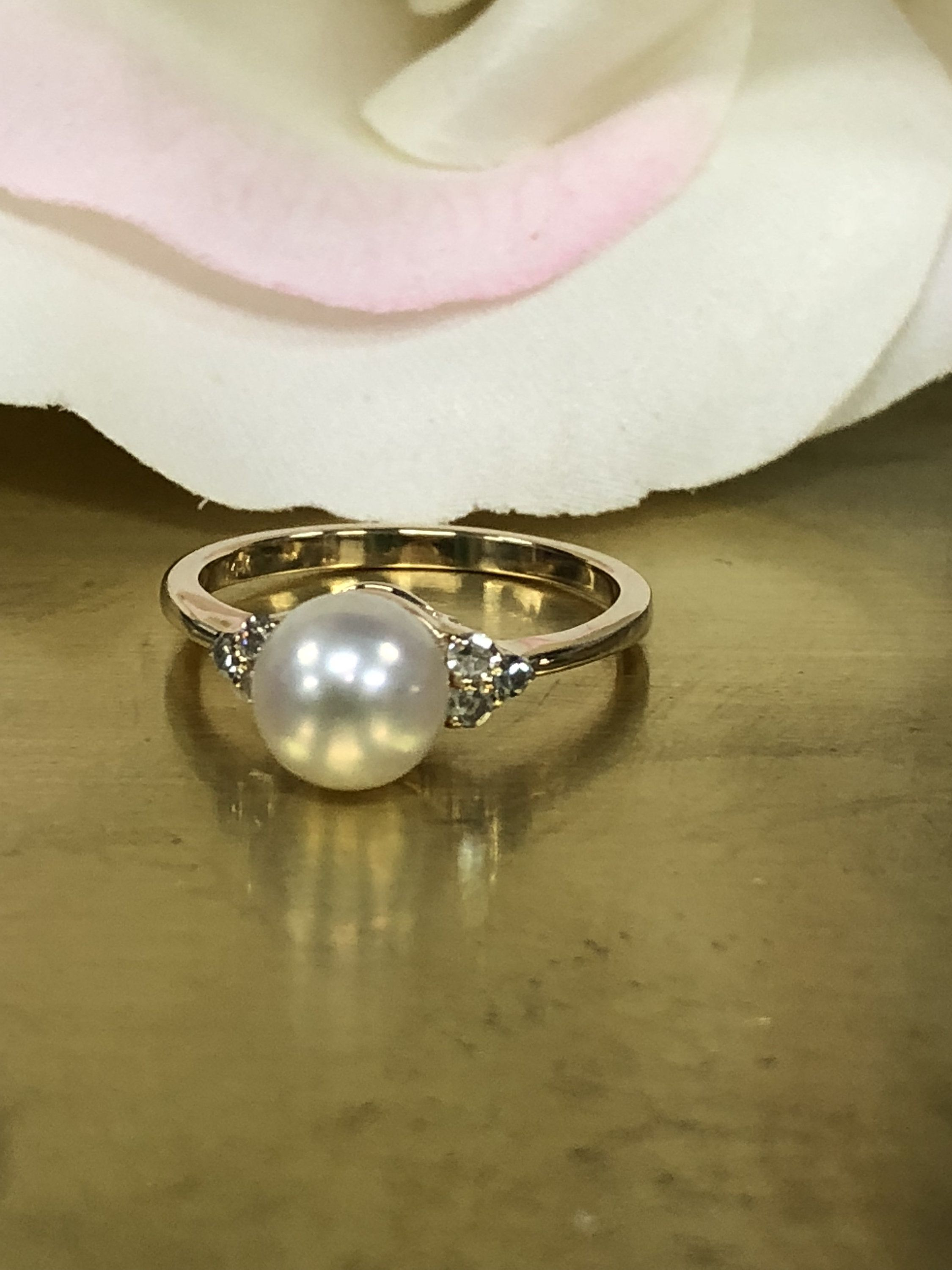 14d78ee8dec9a6 Pearl Ring With Diamonds Accents In 14K Yellow Gold #5643 by  InfinityJewelersUSA on Etsy