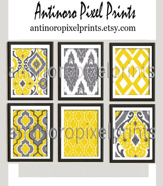 Ikat Mustard Yellow Digital Print Wall Art by antinoropixelprints ...