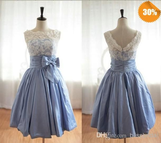 Discount 2014 Elegant Scoop Satin Lace Bridesmaid Dresses Party Dress Ivory/Coral/Yellow/Red/Royal Blue/Lavender/Purple/Green/Orange Cheap In Stock Online with $79.0/Piece | DHgate