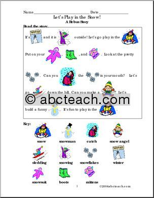 Rebus: Play in the Snow (full color) | abcteach