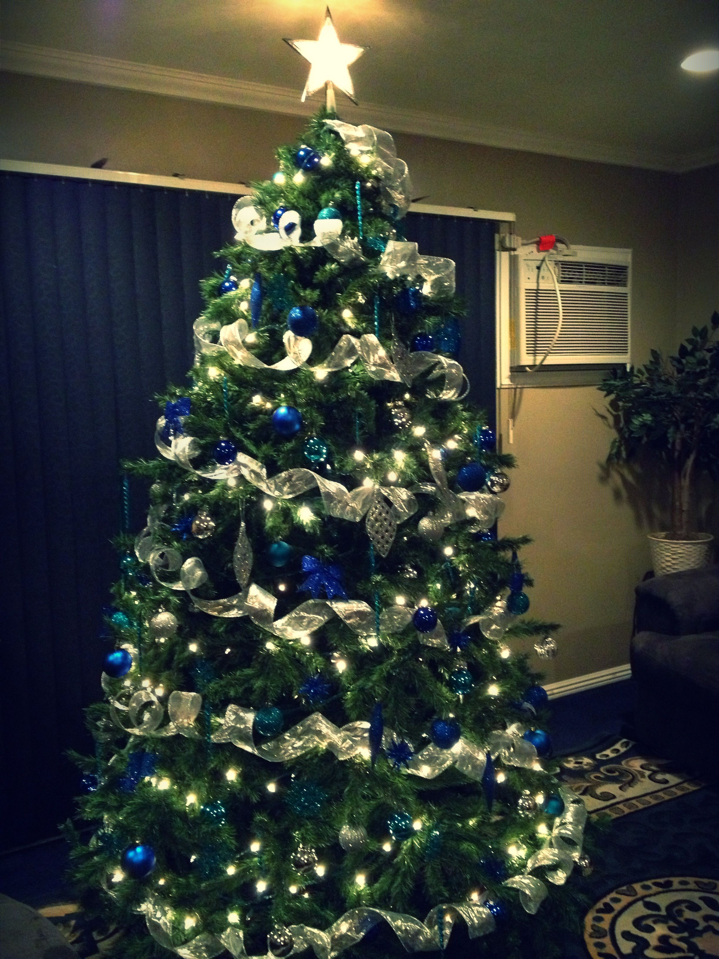 Blue teal & silver christmas tree!! love these colors
