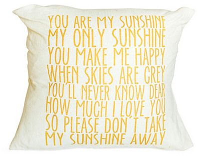 """Sunshine"" 16x16 Cotton Pillow, Yellow on shopstyle.com"