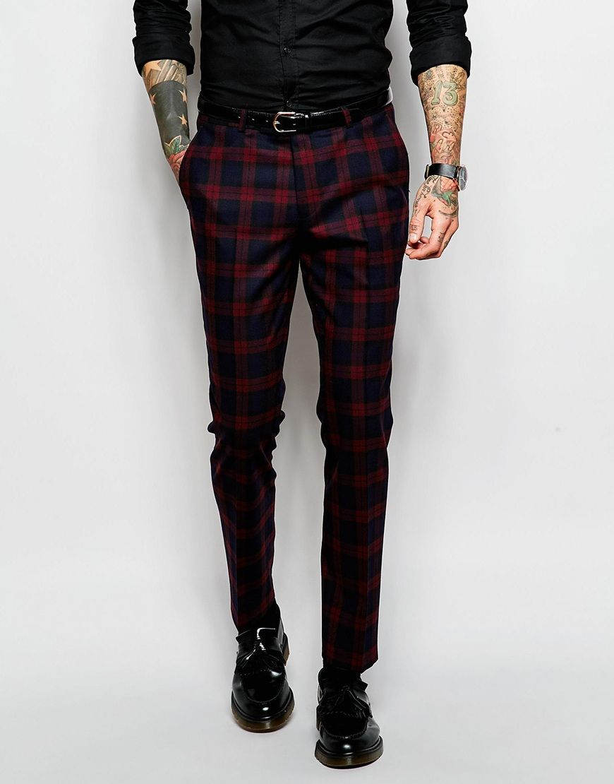 Noose & Monkey Tartan Suit With Stretch in Skinny Fit