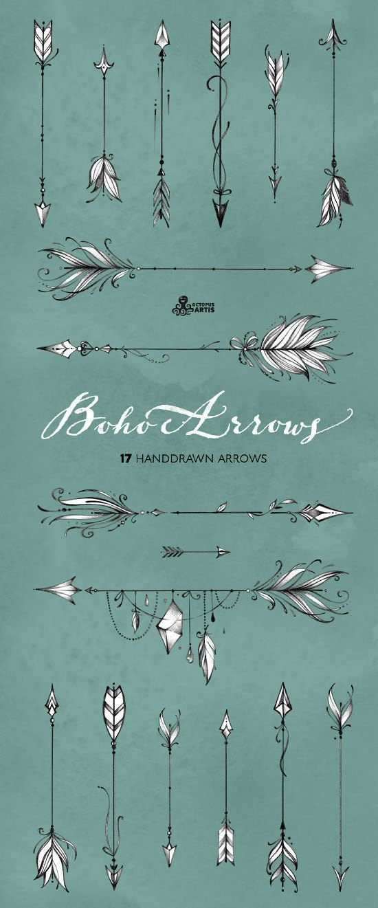 Photo of Boho arrows. 17 hand-drawn clipart. Tribal, native diy elements, logo, invitation, pencil, transparent, digital png, style, tattoo, romantic
