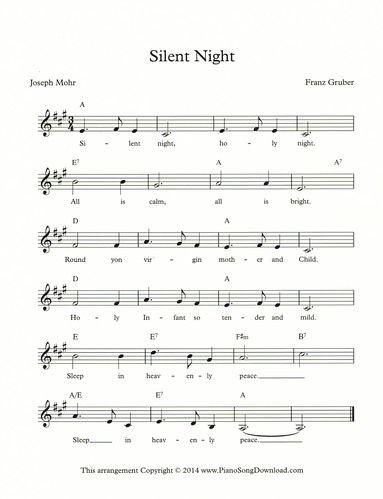 Silent Night Lead Sheet Musical Extemporization Pinterest