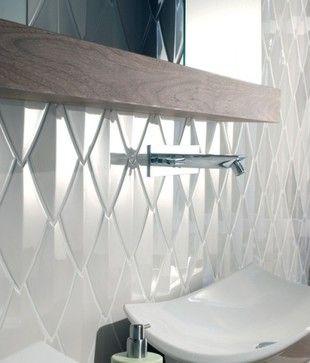 Contemporary Snake Scale Tiles Contemporary Bathroom White Wall Tiles Tile Design Wall Tiles