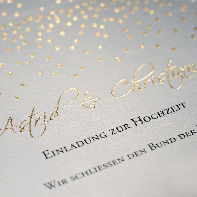 Einladung Für Die Hochzeit Mit Prägung Goldpunkte Feiner