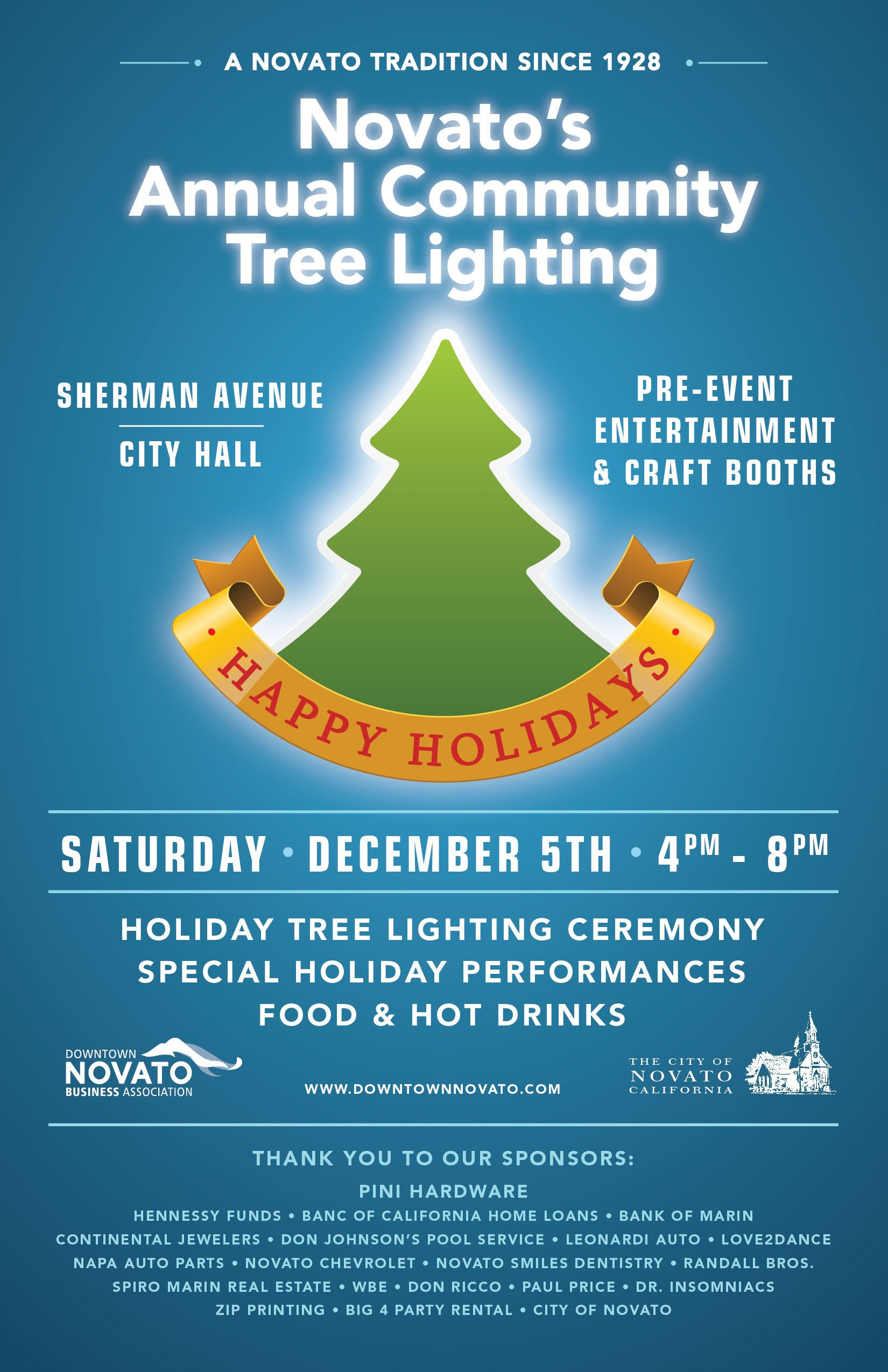 A Novato tradition! Holiday specials, Event entertainment