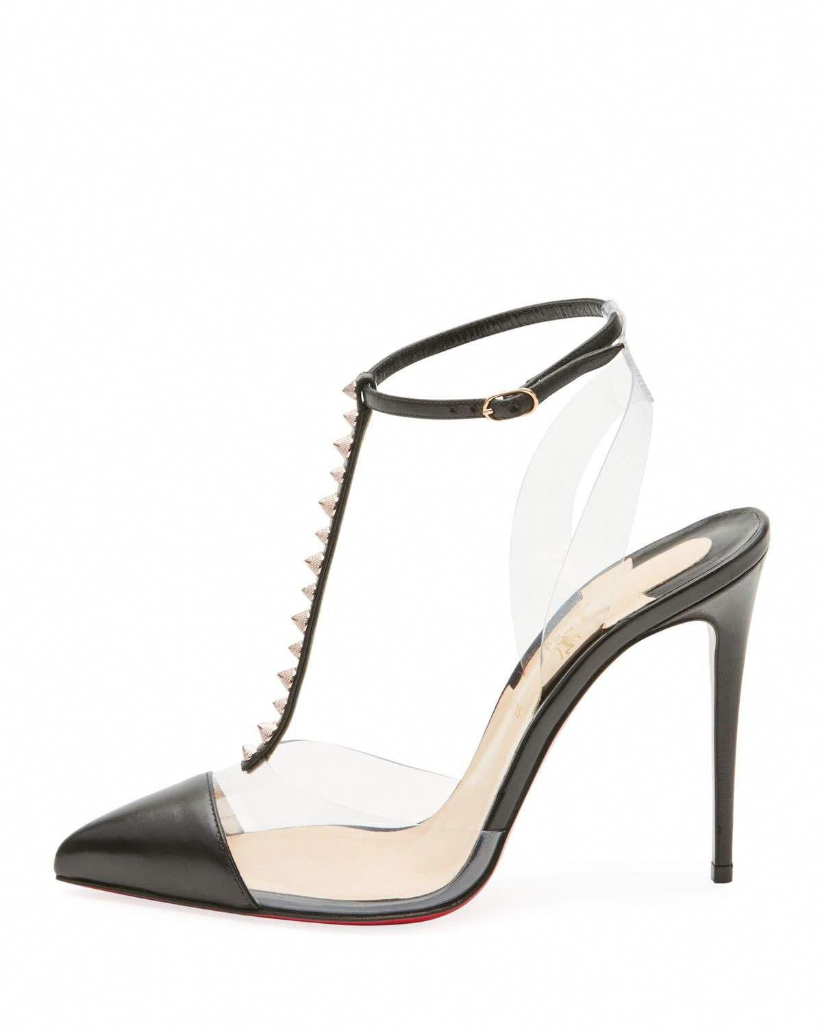 f210197793f2 Christian Louboutin Nosy Spiked T-Strap Red Sole Pump  ChristianLouboutin