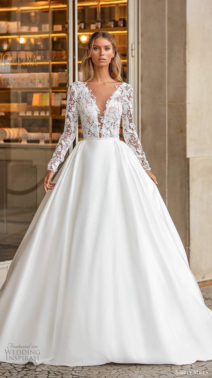 Milla Nova S Simply Milla 2020 Wedding Dresses Wedding Inspirasi Milla Nova Wedding Dresses Long Sleeve Satin Wedding Dress Ball Gowns Wedding [ 1600 x 900 Pixel ]