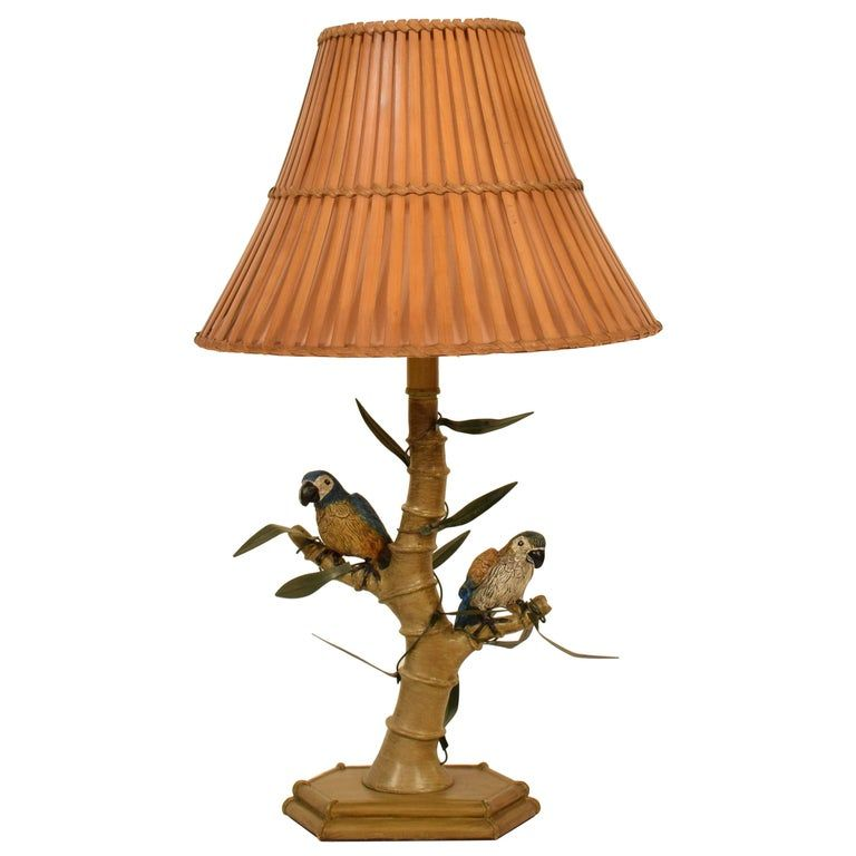 Midcentury Italian Faux Bamboo Table Lamp With Parrots And Bamboo Lamp Shade Bamboo Lamp Lamp Shade Lamp