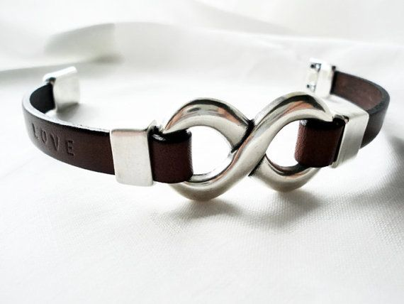 Personalized Engraved Leather Infinity Bracelet Men Hand Stamped Jewelry Gift For Him Boyfriend