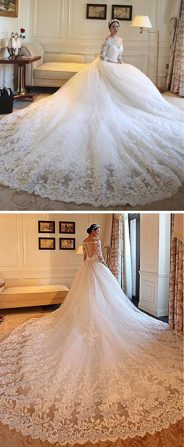 Photo of DressilyMe Bridal Dresses Online,Wedding Dresses Ball Gown, gorgeous tulle off the shoulder neckline ball gown wedding dresses with beaded lace appliques
