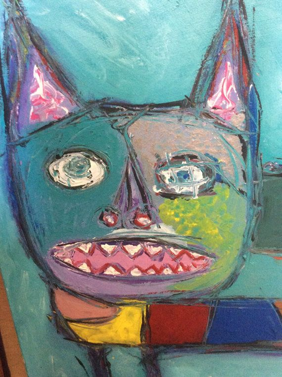 Outsider Art Painting Pudge Go By RonGo