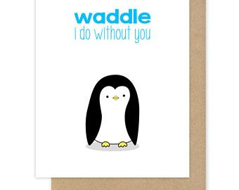Goodbye Card For Friend Her Him I Miss You Cute Funny Penguin Pun