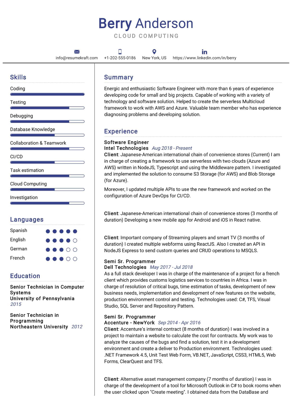 100 Professional Resume Samples For 2020 Resumekraft In 2020 Cloud Computing Professional Resume Samples Resume Examples