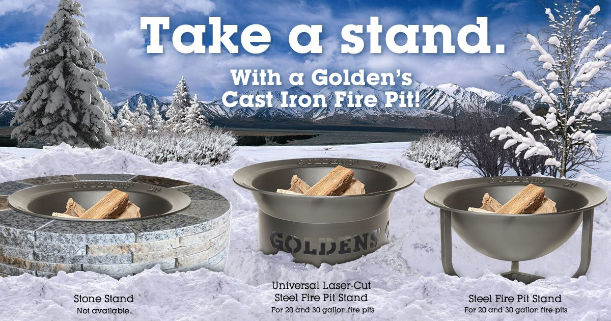 Take A Stand With A Goldens Cast Iron Fire Pit It Will Look Amazing In Your Backyard Or Patio Castironf Cast Iron Fire Pit Fire Pit Stand Kamado Grill
