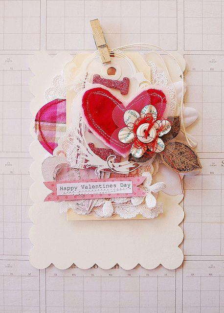 стильную, красивую скрапбукинг открытки день святого валентина маки