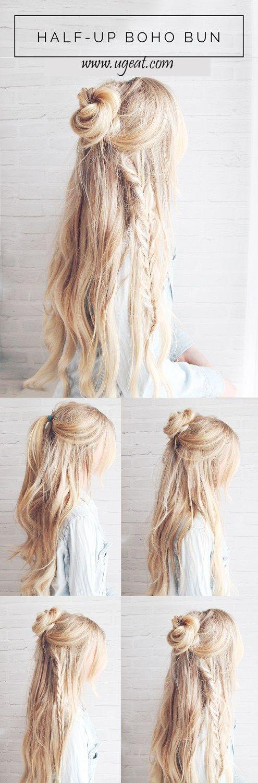 Hairstyle For Thin Hair Hair Styles For School Hair Styles For Round Faces Hair Styles For Medium Hair Hair Sty Hair Styles Long Hair Styles Hair Bun Tutorial