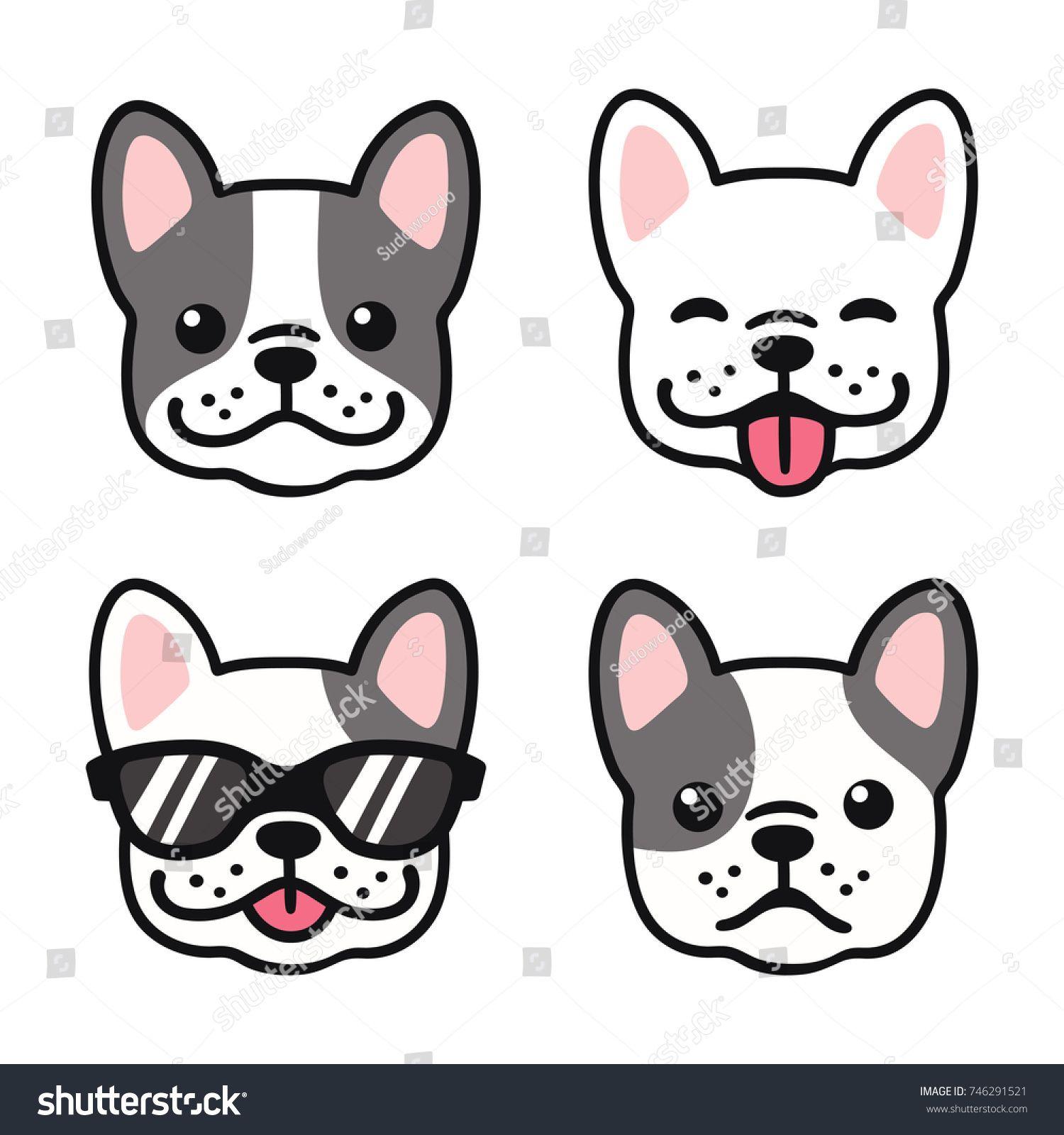 French Bulldog Hand Drawn Cartoon Face Set Cute Frenchie Puppy
