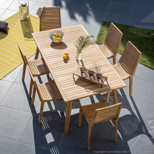 Salon de jardin table et 6 chaises en teck Brut Lovazzi ...