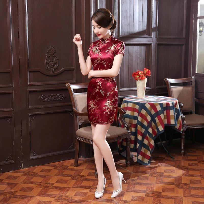 c65765818 Traditional Chinese Women's Silk Satin Mini Dress Cheongsam Qipao Red Sz S -6Xl