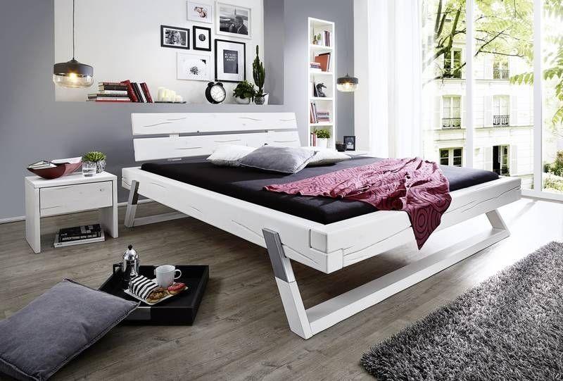Balkenbett Fichte 140x200x87 weiß lackiert TRENTINO #713 Jetzt - schlafzimmer braun weiß