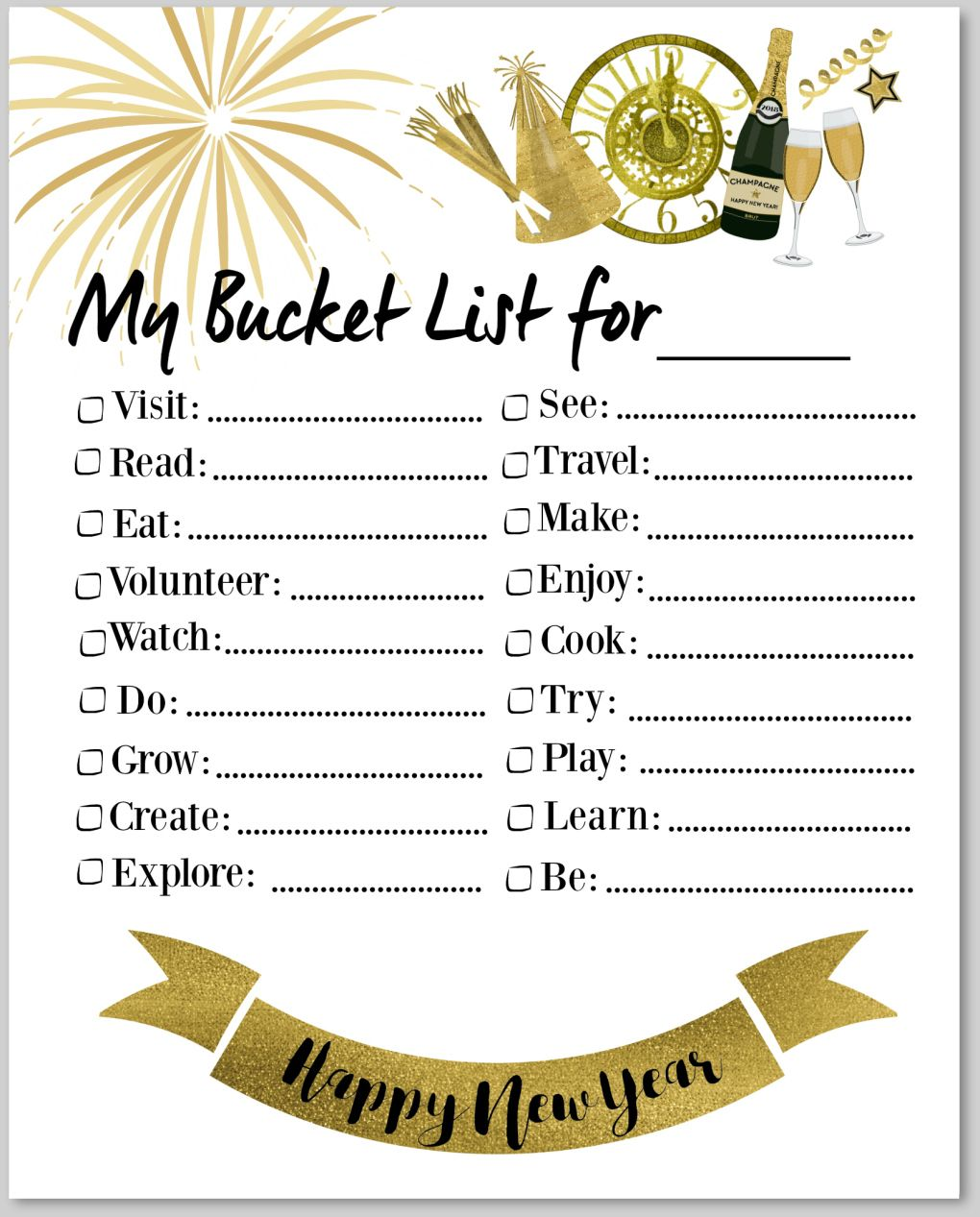 Print Our FREE New Year's Bucket List Templates
