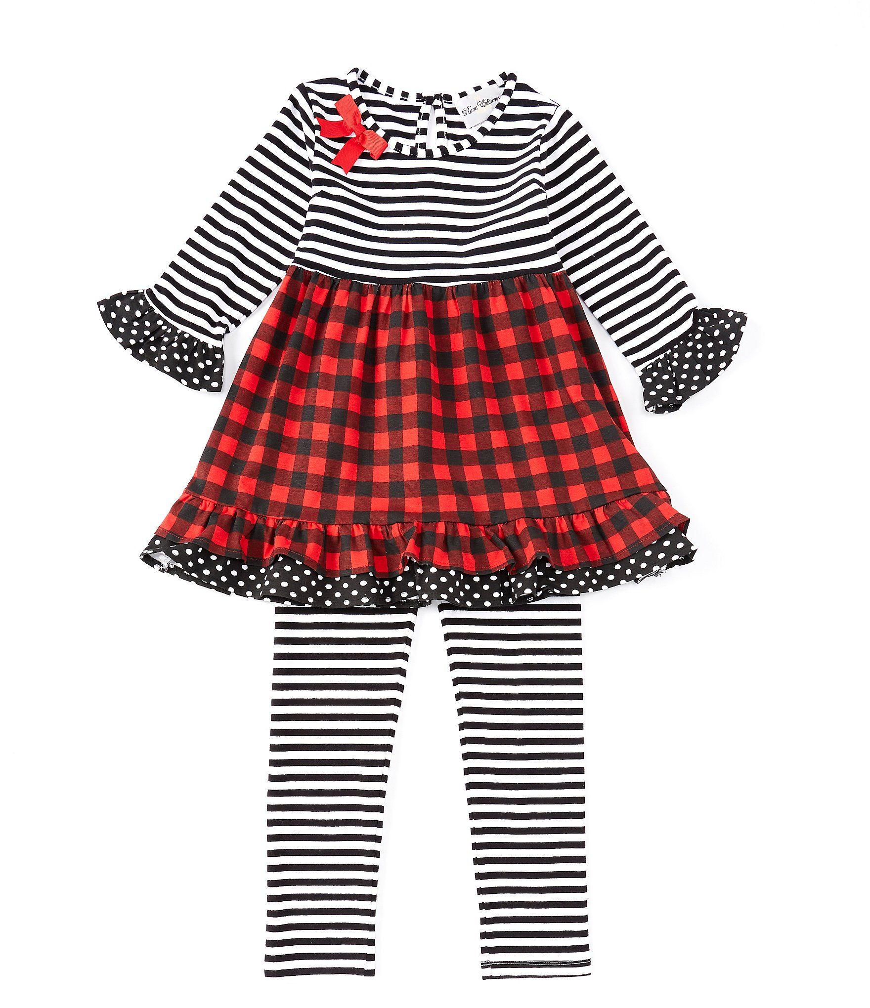 Rare Editions Big Girls 7-10 StripedBuffalo-Check Dress  Striped Leggings Set - Black 10 #stripedleggings