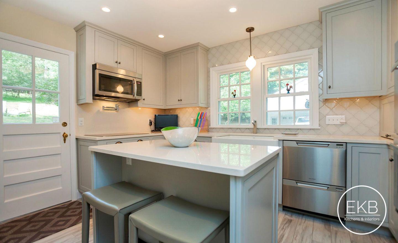 Benjamin Moore Silver Mist Inset Cabinets With Vortium Silestone Countertops Kitchen Remodel Kitchen Design Installing Kitchen Cabinets