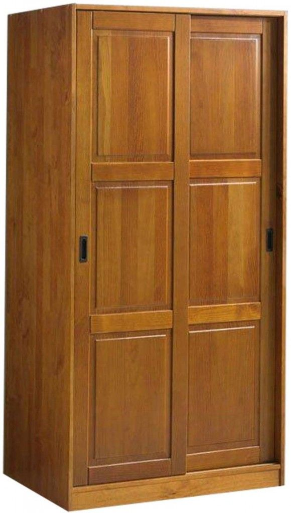Solid Wood Modern Armoire Wardrobe With Sliding