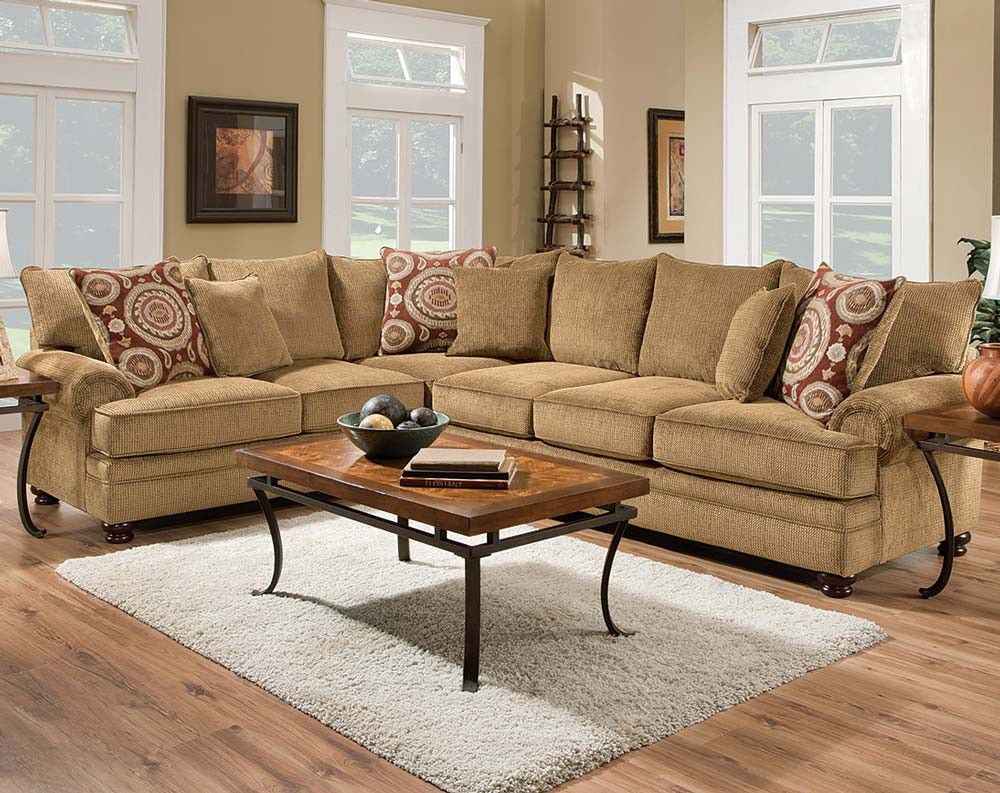 Tan Couch Dark Brown Round Feet Twill Two Piece Sectional Sofa